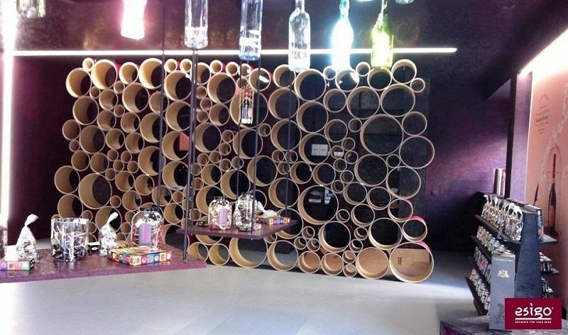 Arredamento enoteca con portabottiglie di design Esigo
